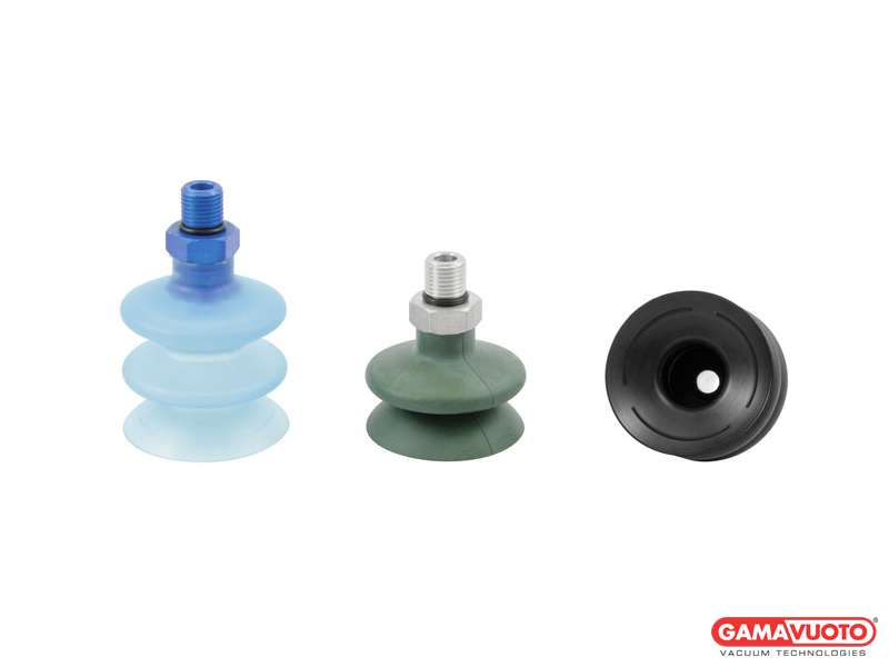 Special bellow suction caps with external male vulcanized support